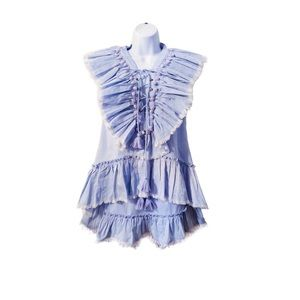 Misa Los Angeles Marjan Aleh Blue Skirt Co Ord Set